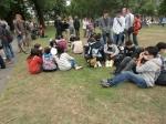 公園に退避した生徒達